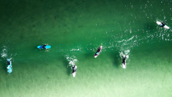 Surfers paddling and resting as they wait for the perfect wave
