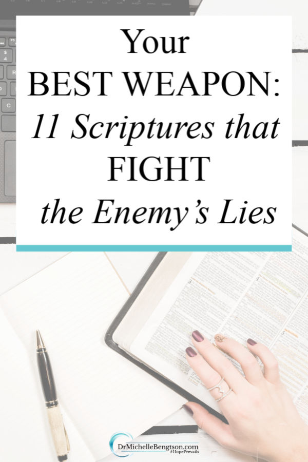 God gave us scripture that we can use to fight the enemy's lies. Use these 11 Bible Verses to fight back and take your thoughts captive. You can win in your thought life! #Bible #Scripture #faith #God