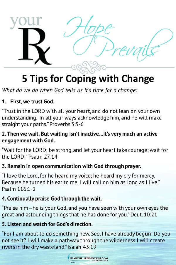 When God says it's time for a change, these 5 tips will help you cope and stay focused on God's plan. #Christianity #trustingGod #God