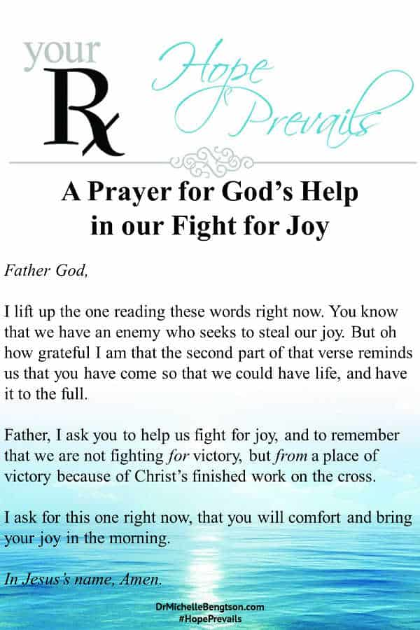 A prayer for gods help in our fight for joy