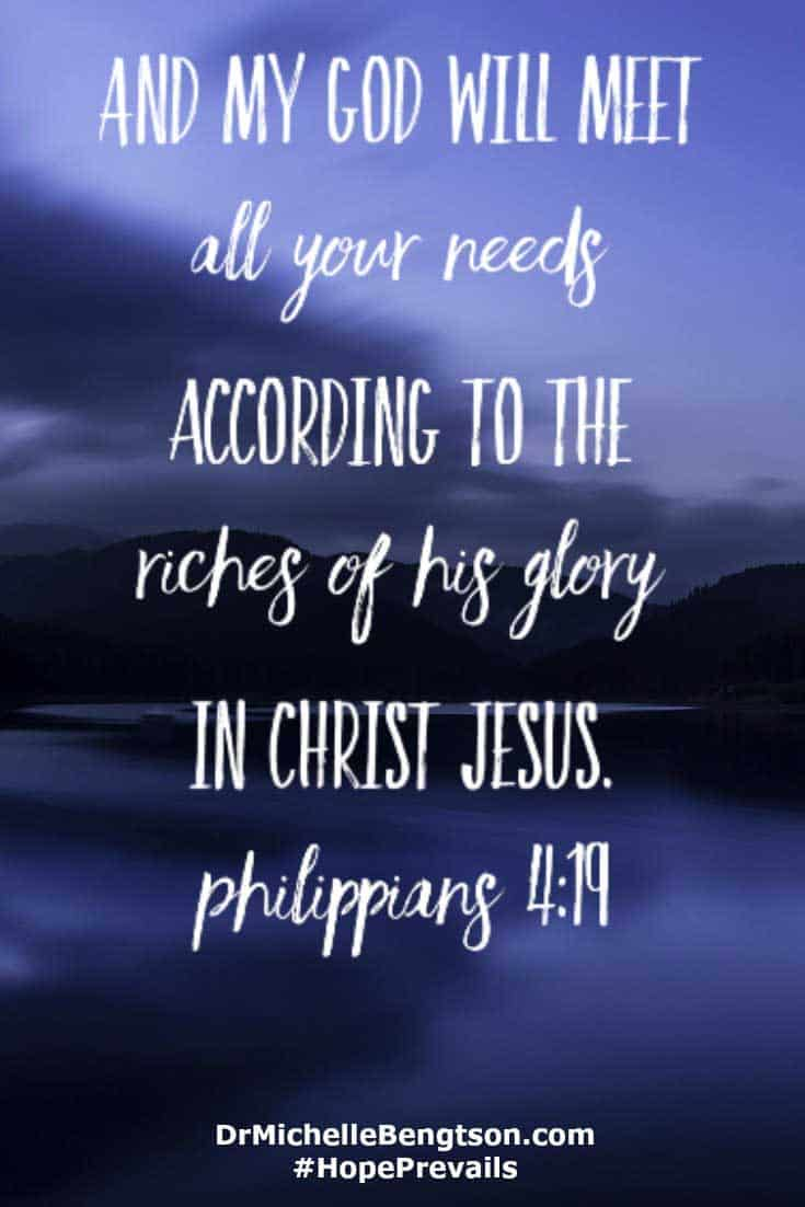 And my God will meet all your needs according to the riches of His glory in Christ Jesus. Philippians 4:19 #BibleVerses #Christianity #faith