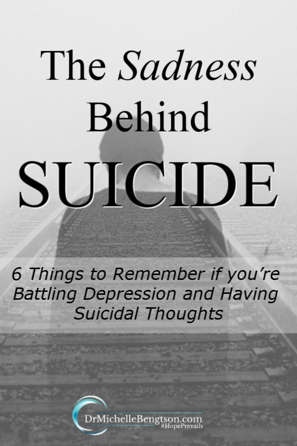 For most, suicide isn't a desire to die, but a desire to be rid of the pain and sadness. From her own experience and those of the patients she serves, a clinical neuropsychologist shares 6 things to consider if you or a loved one are battling depression and having suicidal thoughts. #mentalhealth