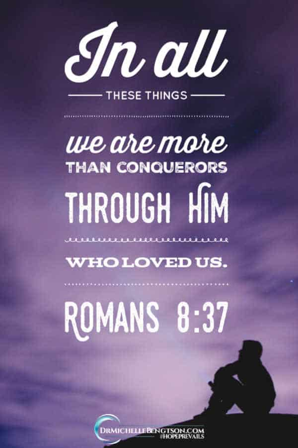 "We're more than conquerors with Jesus on our team. ""In all these things we are more than conquerors through him who loved us."" Romans 8:37 #BibleVerse #Scripture #faith"