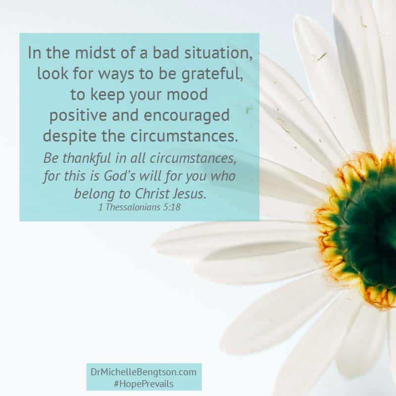 In the midst of a bad situation, look for ways to be grateful. #gratitude #depression