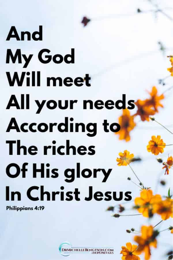 And my God will meet all your needs according to the riches of His glory in Christ Jesus. Philippians 4:19 #BibleVerse #scripture #faith