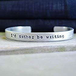 I'd rather be writing silver colored cuff bracelet