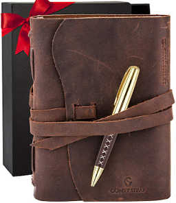 Leather bound journal notebook is great for men or women writers.