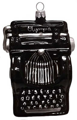 Vintage typewriter blown glass ornament for the writer or author in your life.