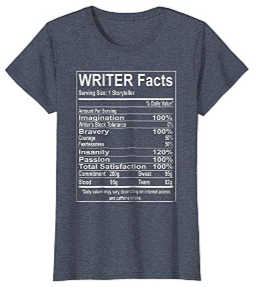 A T-shirt with writer facts and storyteller information