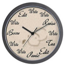 "10"" decorator wall clock depicting the writing process - a gift for the writer on your list."