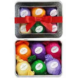 Fizzy bath bomb gift set with organic shea/cocoa