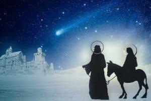 Mary and Joseph travel to Bethlehem to pay taxes