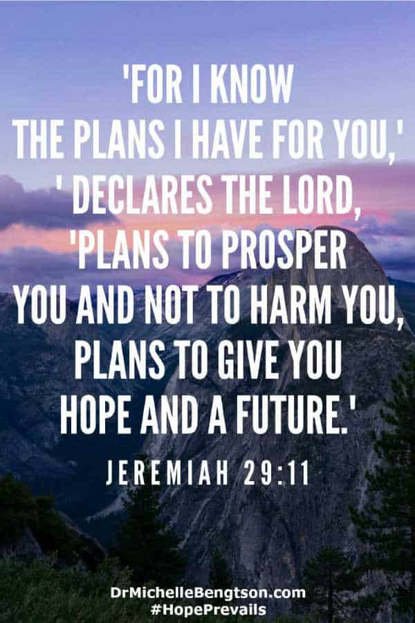 God knows the plans He has for me, and they are good, prosper me and not to harm me, and to include a future and a hope. #BibleVerse #scripture #faith