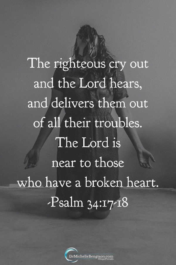 God hears when we cry out to Him. He promises to be near to those whose hearts are broken. Psalm 34 Read more for a Biblical perspective for facing tough challenges. #Bible #faith
