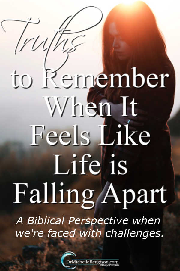 When it feels like life is falling apart, our hearts hurt, and our emotions are raw. Read more for a Biblical perspective so you can face challenges. #Bible #faith