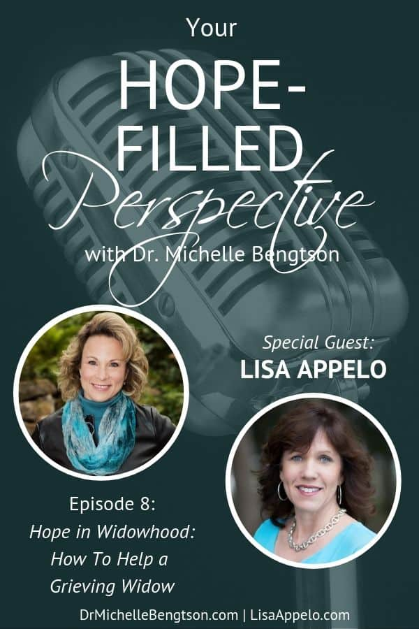 If you have lost a spouse and are now widowed, or you have a friend who is a new widow, then today is the perfect show for you. Lisa Appelo and I talk about what it's like to become a widow or widower, how to help a grieving widow, and how to support a widow in such a trying time.