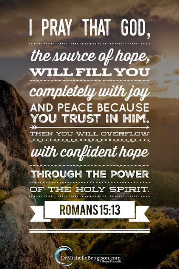 When we trust in God and know Him, we experience His presence. He's the source of Hope. When we trust Him, He fills us with joy and peace so we overflow with confident hope through the power of the Holy Spirit. To read more about the What, Why, How and When of Knowing God, read more. #salvation #faith