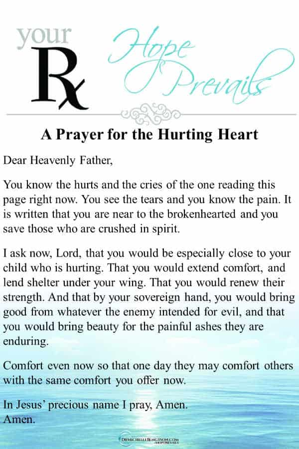 A prayer for the hurting heart. When you're brokenhearted and need comfort, God meets you where you are and brings beauty for ashes. Are you facing a difficult situation? Read more for ways God can use even your pain for good.