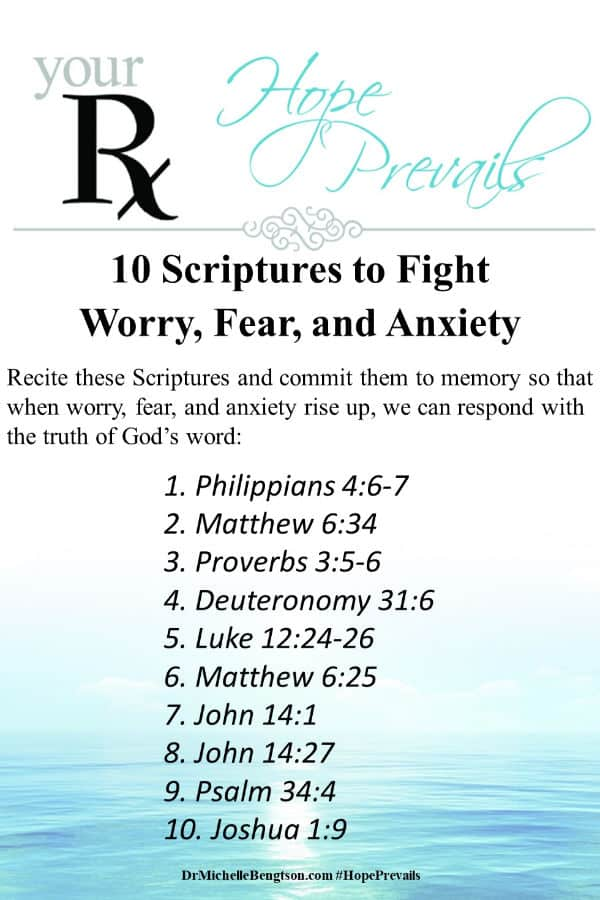 Recite and commit these Bible verses to memory so that when worry, fear, and anxiety rise up, you can respond with the truth of God's word. Click through for a neuropsychologist's explanation of what worry, fear, and anxiety are and where they come from. #anxiety #mentalhealth