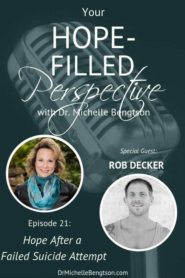 If you've ever considered attempting suicide, or lived following a failed suicide attempt, you'll want to hear our guest's story in this episode. I talk with Rob Decker who shares very candidly about his failed suicide attempt and how he has found hope for a better life.  #mentalhealth