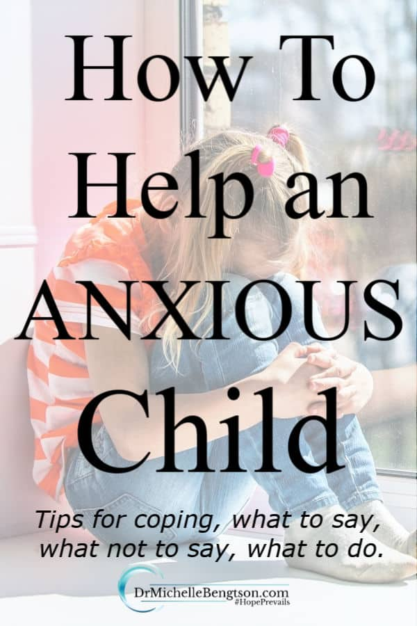 There is no concern quite like the concern a parent has for a child. Especially a parent whose child suffers from anxiety. Worry, fear, and anxiety are crippling. Parents long to help but just don't know how. Read more for coping tips during anxiety producing situations as well as what parents should say, what not to say and what to do. #anxiety #mentalhealth