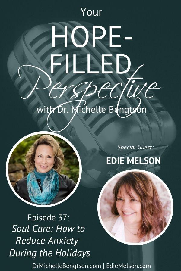 In this episode, we talk with Edie Melson about soul care and how to reduce anxiety during the holidays. Holiday pressures can leave us feeling overwhelmed and worn out. These tips will help. #podcast #soulcare #mentalhealth #mentalhealthawareness #holidays