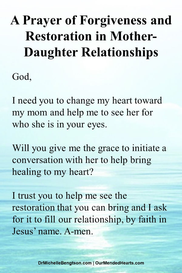 A prayer to initiate a conversation with mom that brings forgiveness and reconciliation to mother-daughter relationships. Read more for a free tool to help with conversation starters. #MothersDay  #relationships