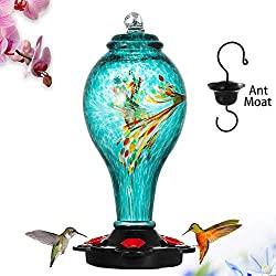 Handblown glass hummingbird feeder