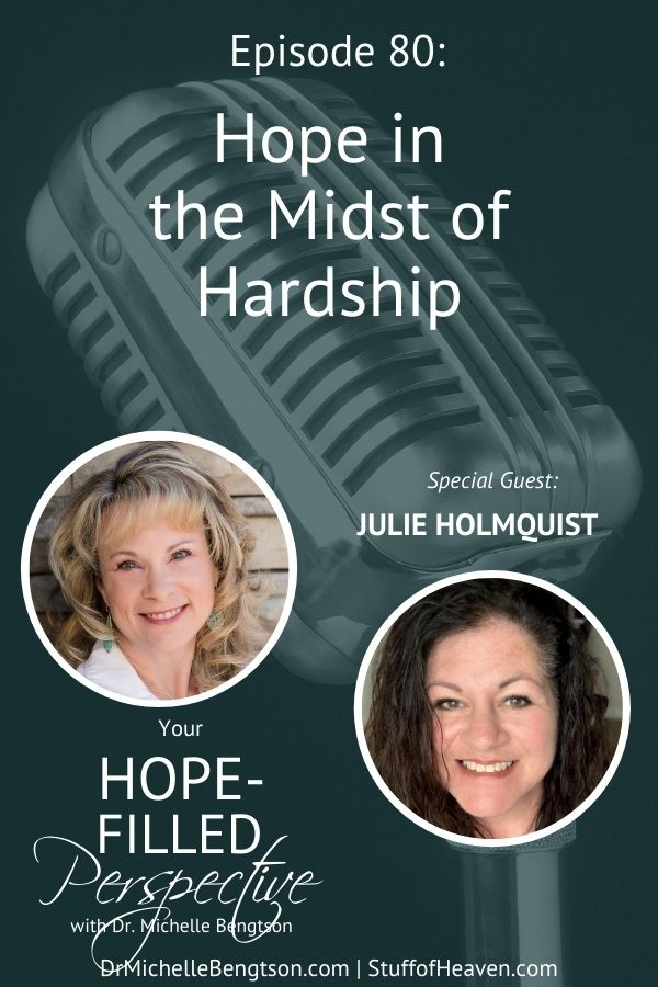 When we face hardships and difficulties that God has allowed, He shows us how to find hope. My guest today has been through trial after trial, but Julie Holmquist has maintained her hope despite the hardships. She shares with us how she did it. #hope #YHFP #hardtimes
