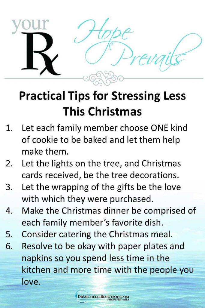 Practical tips for stressing less this Christmas. Join us on the podcast for more ways to change your focus so you can reduce stress. #Christmas #podcast #stress