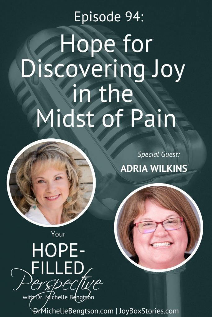 In this podcast, Adria Wilkins and I talk about how to find joy in the midst of life's painful situations. Adria suffered the unthinkable…the death of her 3 year old son, Blake. Now, she shares how joy can be found in any situation. #hope #findingjoy #joy #podcast