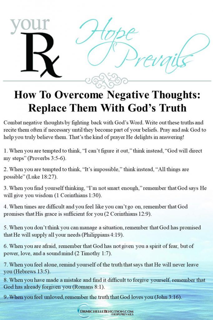 Fight back against negative thoughts by replacing them with God's Word. These 9 truths are examples that will get you started. Read more for 4 simple yet effective ways to combat negative thoughts by identifying lies you've believed and replacing them with God's Word. #negativethoughts #negativity #Bible #mentalhealth #faith #hope
