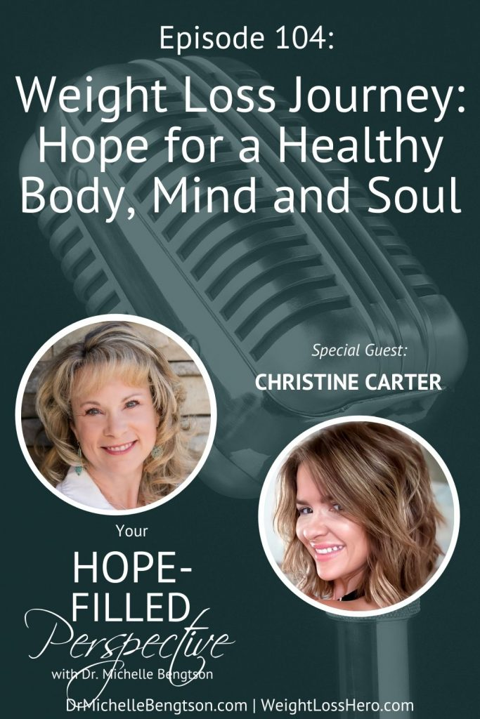In this episode, Christine Carter of Weight Loss Hero and I talk about her weight loss journey and the hope we have for a healthy body, mind and soul. In order to achieve lasting change in our bodies, we must first transform our minds. We can also take control of areas of our lives, like fear, that are holding us back from change. #podcast #weightloss #healthyliving
