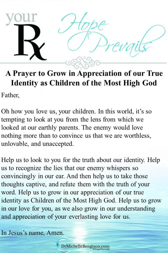 A prayer asking God to help us appreciate our identity as children of the Most High God. Read more for how you can guard your heart and become the boss of your thoughts. #identityinChrist #prayer #guardyourheart