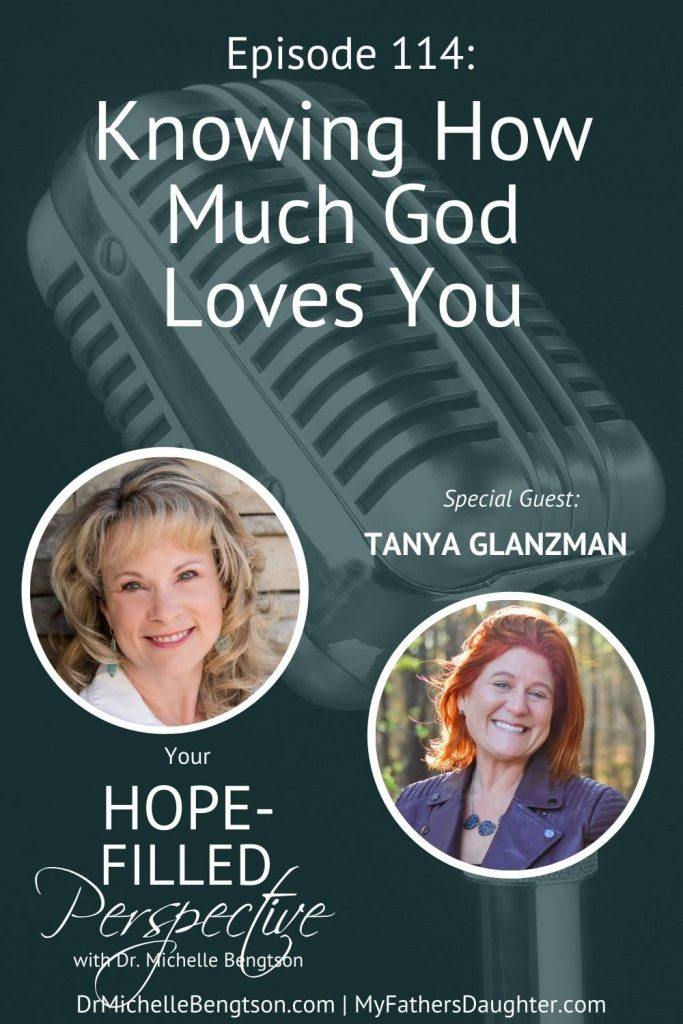 So many women struggle to call God Father because they have never known a Father that was good. Or, that He is sure, steadfast and unchanging. My guest, Tanya Glanzman, struggled in that respect as well until God revealed His vast love for her, and now she knows that she is her Heavenly Father's daughter. In today's episode, we talk about knowing how much God loves you and what it truly means to embrace our identity as a child of God.. #identity #identityinChrist #hope #faith #trustGod