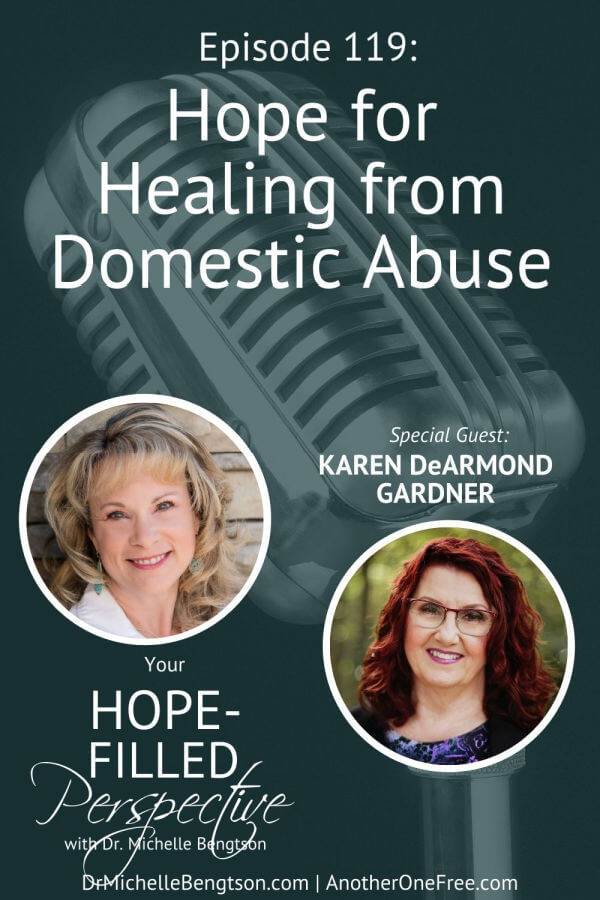 In this episode, I talk with Karen DeArmond Gardner about hope for healing after domestic abuse. There are many women who don't realize they are in an abusive situation because he doesn't hit her. When they get out of the marriage, they don't know that healing is possible or available. Karen's ministry is to encourage women who have experienced abuse. #domesticabuse #domesticviolence #hope #faith