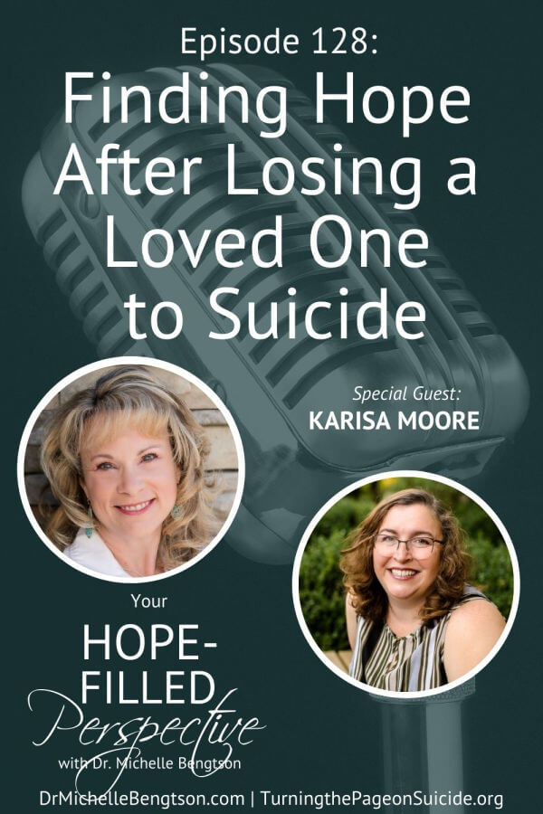 Karisa Moore lost her oldest son to suicide in 2014. In this episode, Karisa and I talk about finding hope after losing a loved one to suicide. Grief is a dance we don't want, but we can grieve with hope. As a mental health professional, suicide is a topic we don't talk about enough. When we don't talk about it, the enemy uses it to keep us isolated, feeling alone, and in despair.